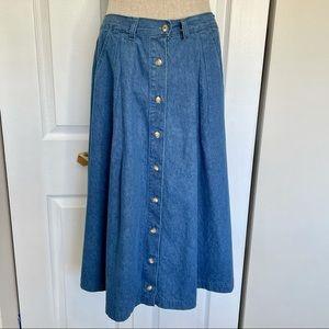 HUNTINGTON RIDGE Vtg Button Front Chambray Skirt